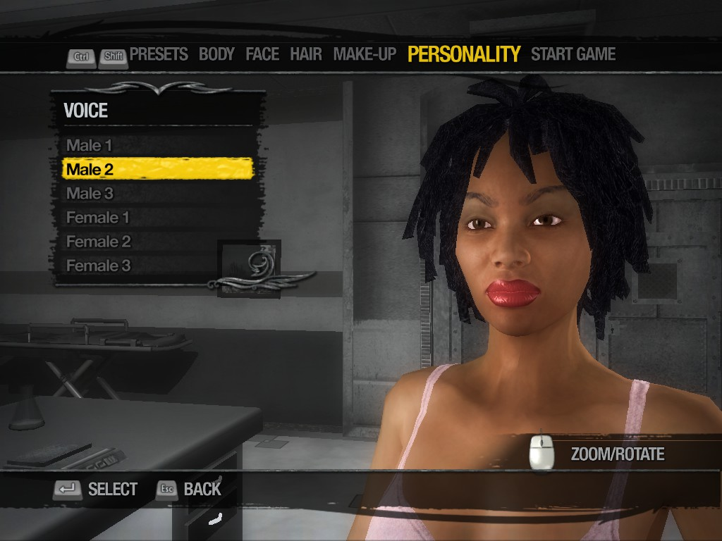 A femme looking person standing in a room. Character customisation screen. Text reads 'Voice. Male 1. Male 2. Male 3. Female 1. Female 2. Female 3.'.