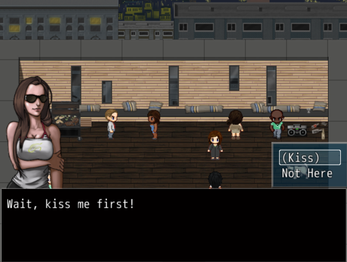 Femme appearing person wearing sunglasses is saying 'Wait, kiss me first!' with player options '(Kiss)' and 'Not here' appearing above the dialogue. In the background, several people are standing on a balcony, with a view of the city.