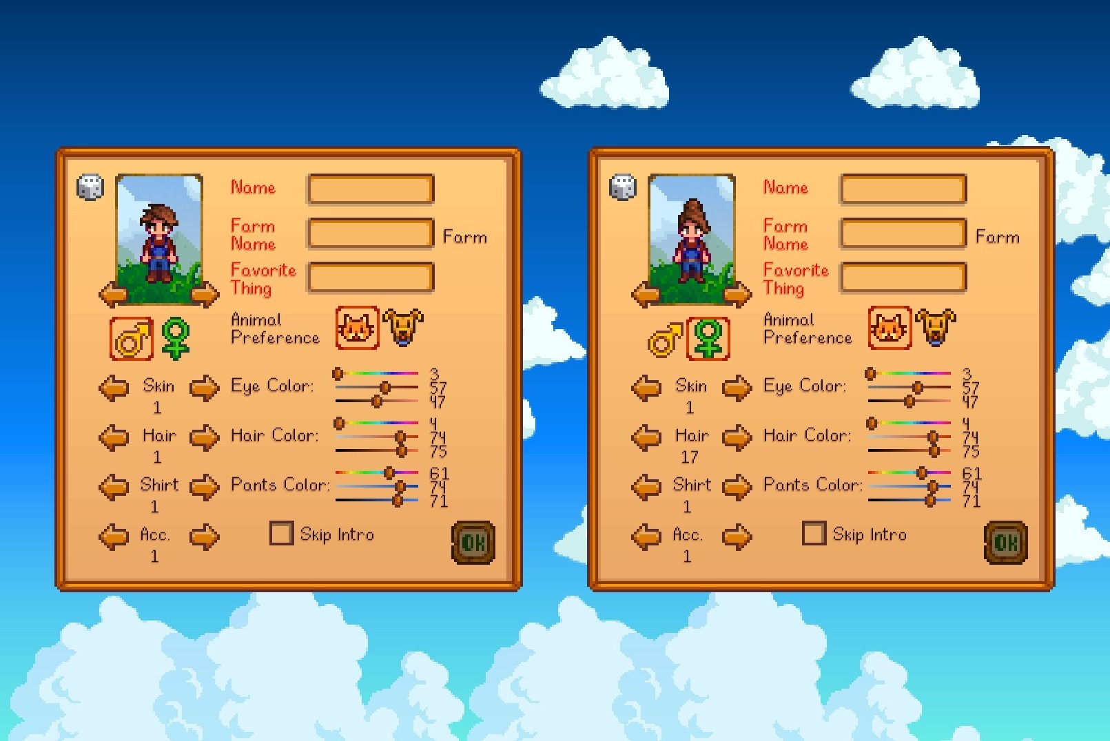 Two character selection screens, one with a masc looking person and one with a femme looking person.