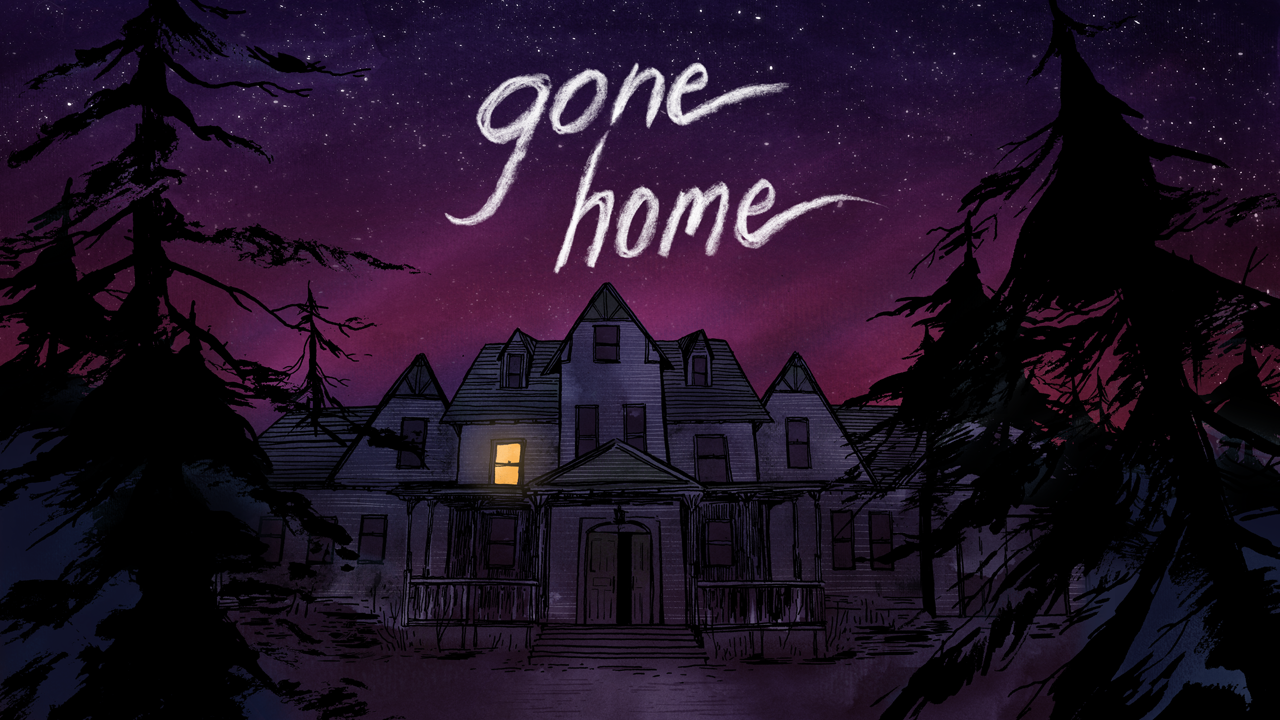The game title sits above a dark mansion with one window lit up.