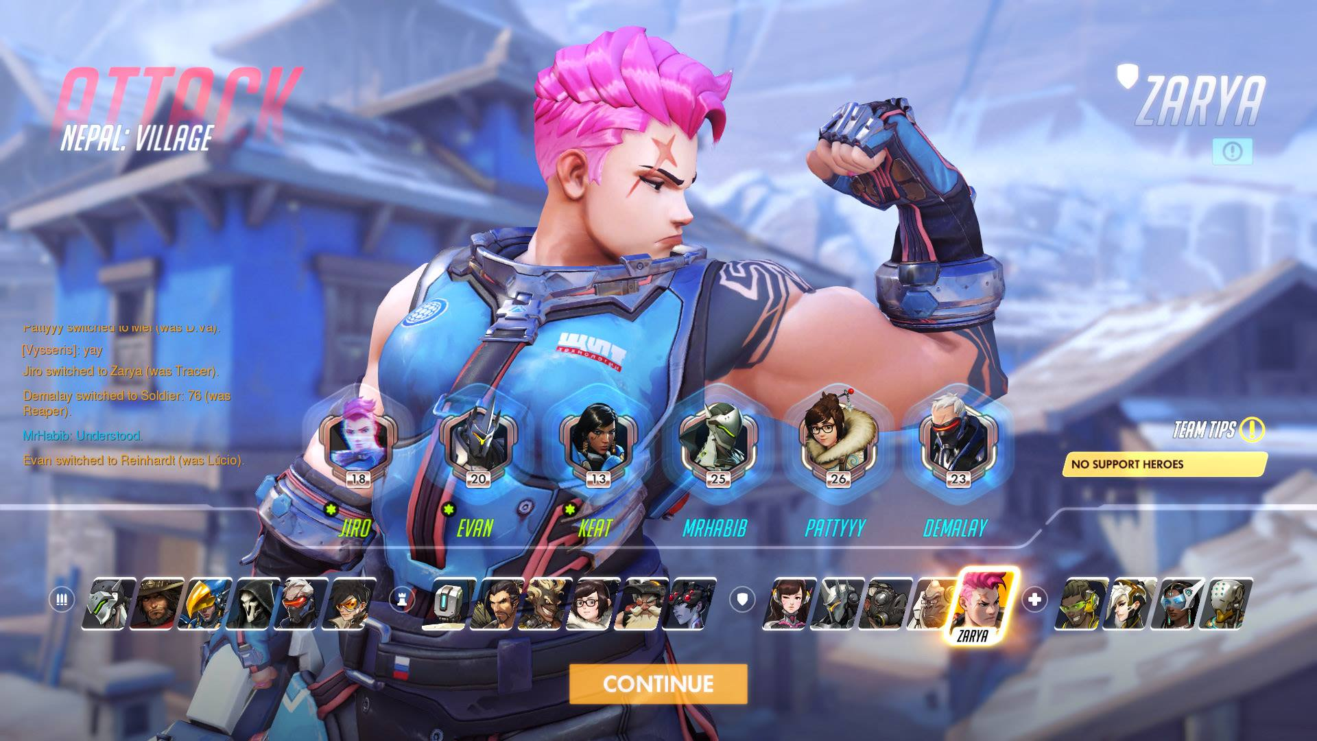 A feminine figure with short unnaturally coloured hair flexes her bicepts. The portraits of other character overlay her.