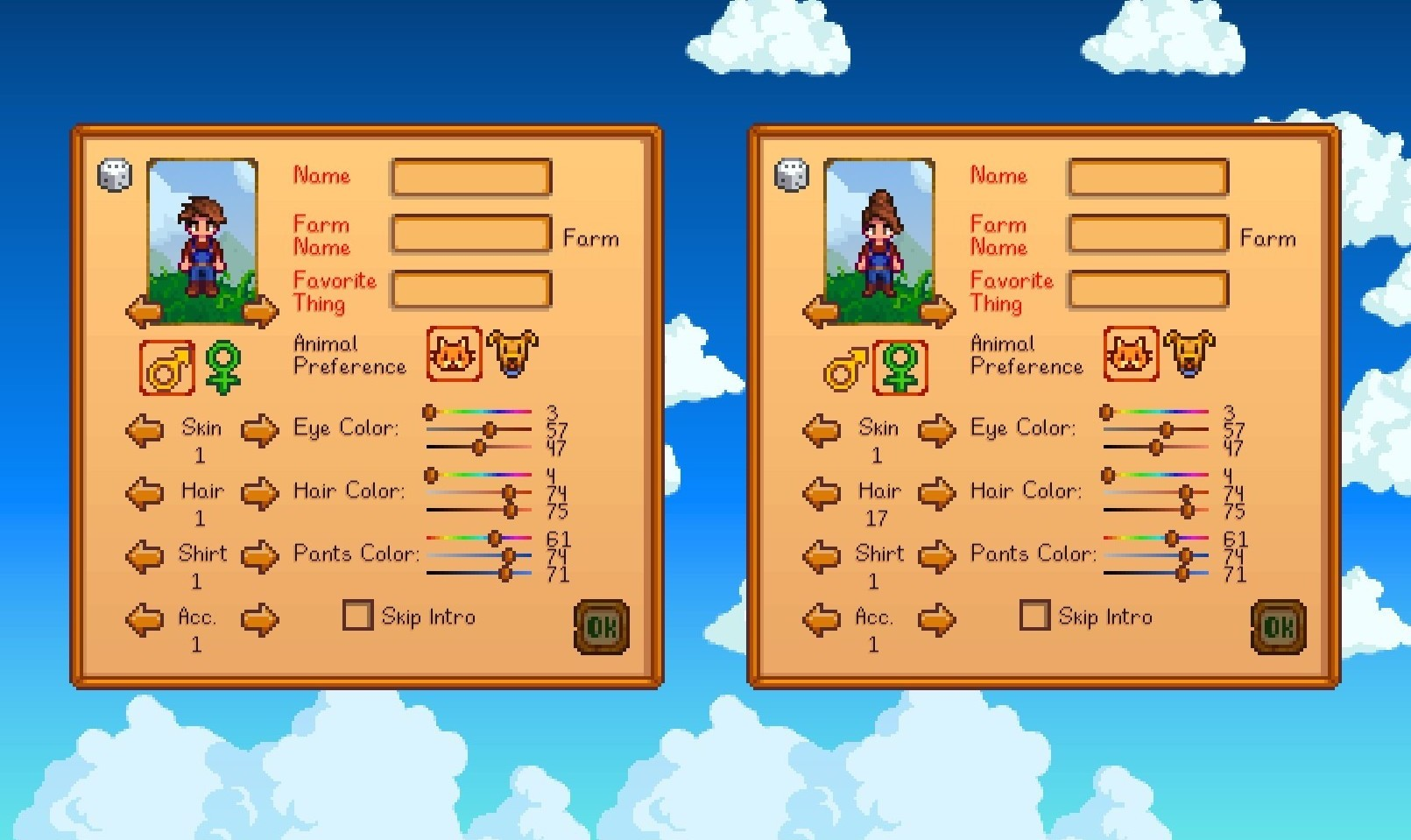 Stardew Valley character selection screen.