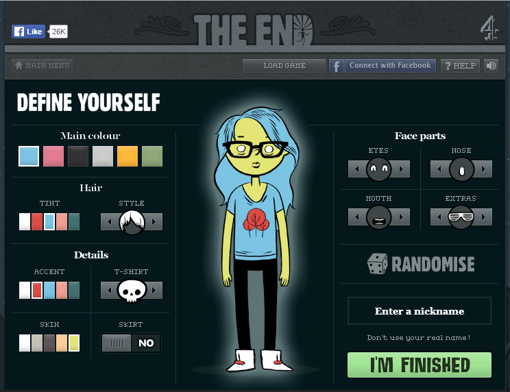 A femme looking person. Character selection screen. Text reads 'Define yourself' with options for colour, hair, eyes, nose, mouth and extras.