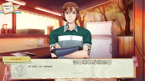 A masculine character stands in a kitchen. A text overlay reads, 'Hendrik: I'm ace... or asexual'.