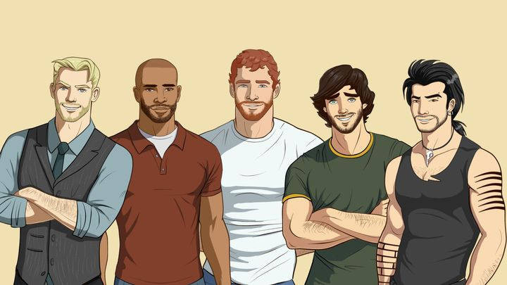 Five muscular masculine figures stand beside one another, looking at the camera.