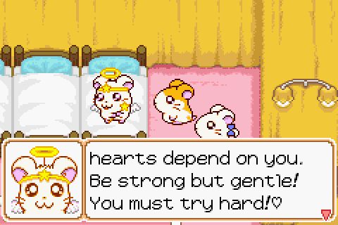 Three hamsters in a bedroom with multiple beds. Dialogue reads 'Hearts depend on you. Be strong but gentle. You must try hard.'.