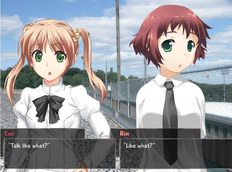 Two femme looking people standing near a fence. Dialogue reads 'Talk like what?' and 'Like what?'.