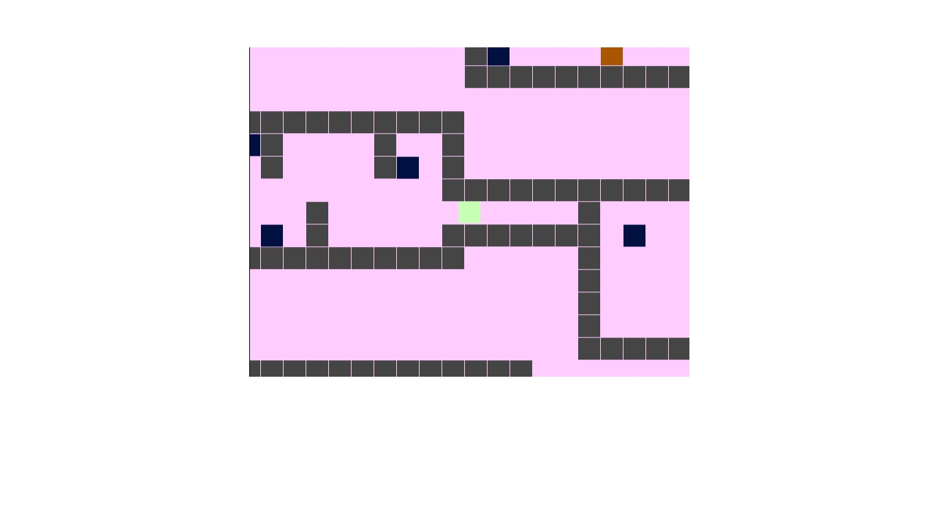Several maze-like walls with a square player icon in the centre.