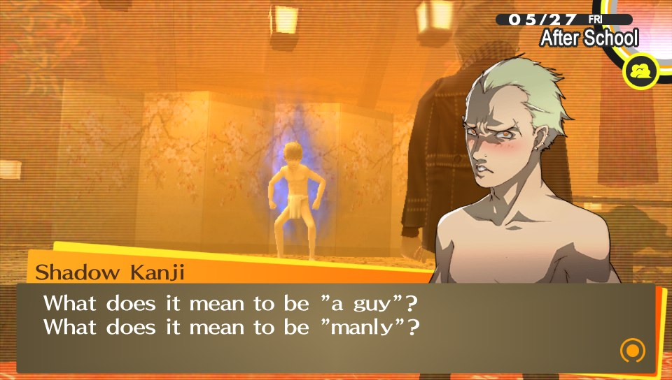 A gender ambiguous character stands shirtless with a text overlay, which reads, 'Shadow Kanji: What does it mean to be a guy? What does it mean to be manly?'