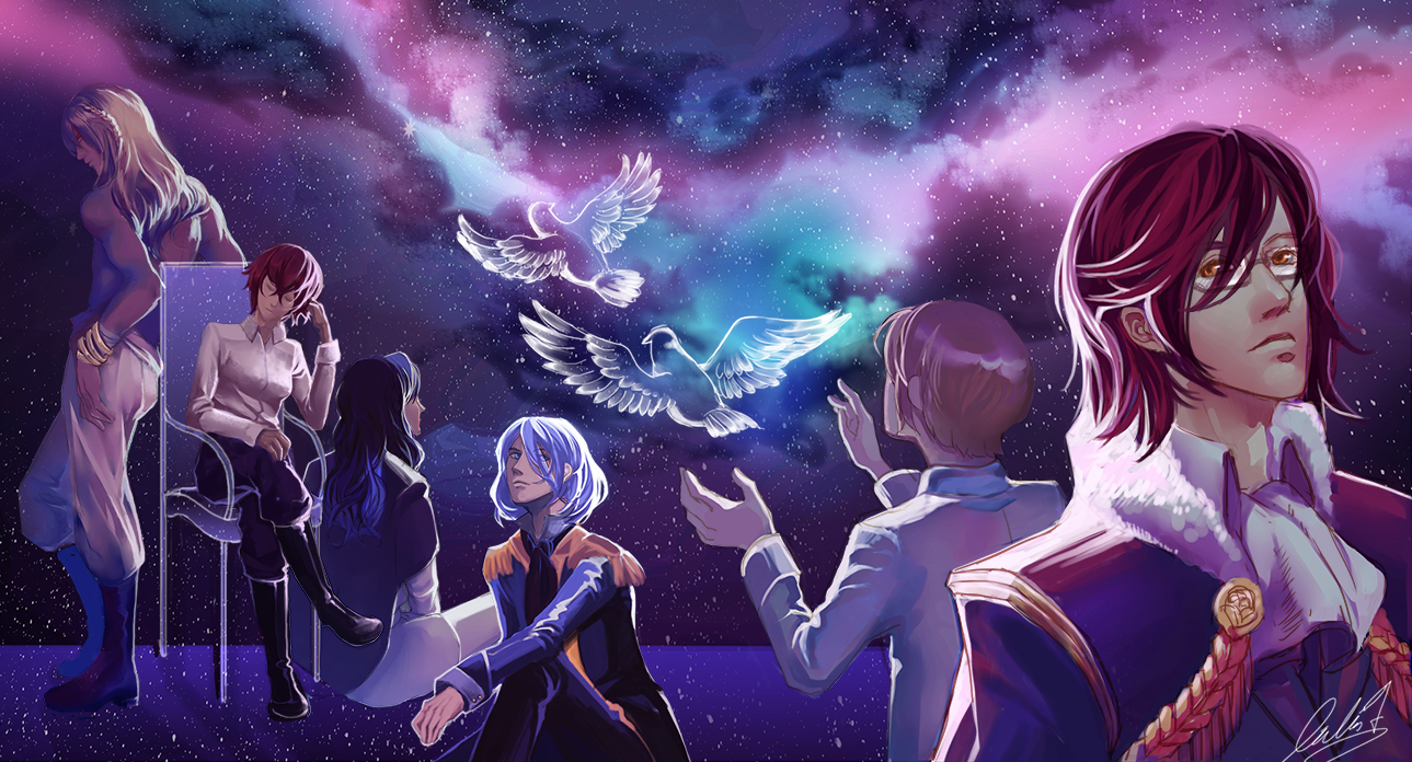 A gender ambiguous character releases transparent doves into a night sky while five other figures watch on.