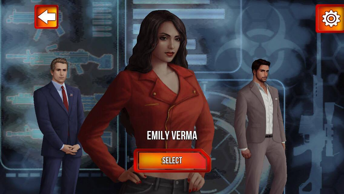 A feminine figure with the name 'Emily Verma' and a button that states 'select' stands in the foreground while two masculine figures stand behind her.