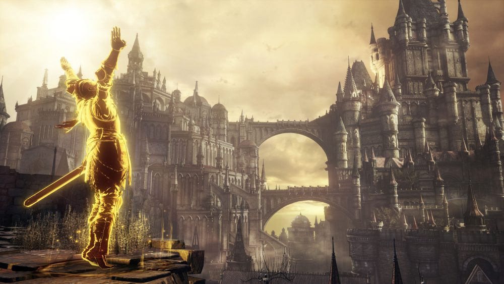 A glowing knight with their arms stretched in the air facing a large castle with two bridges.