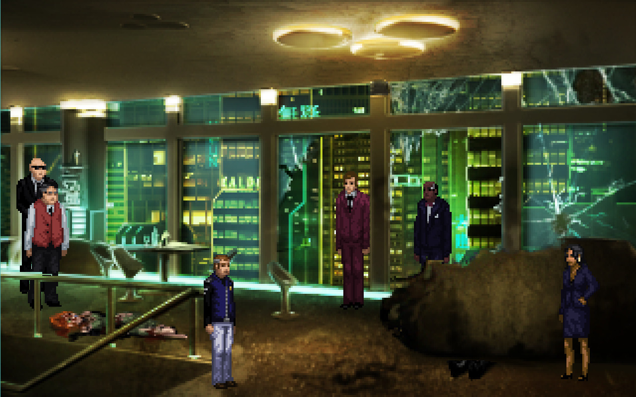 Several people standing in a futuristic looking room.