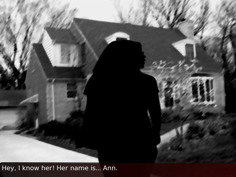 The silhouette of a feminine figure says 'Hey, I know her! Her name is... Ann.'