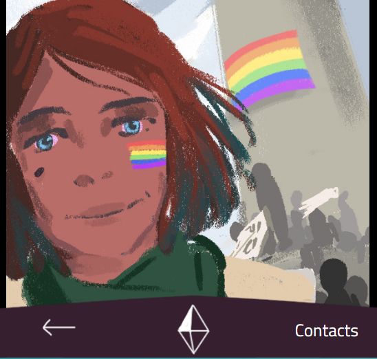 A femme appearing person looks at the camera with the queer pride flag painted on her cheek, and another queer pride flag on the wall behind her. The word 'Contacts' is below her to suggest the photo is on a phone.
