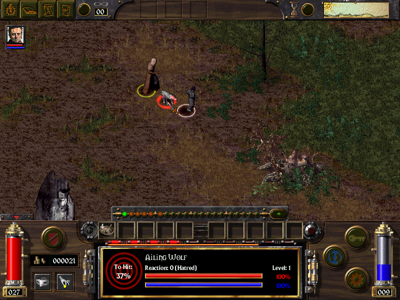 A scene with grass and dirt is depicted, with a game overlay showing that the 'Ailing Wolf' has been selected with a 37% chance to hit. Game options are on the screen, including a shield icon, a cog icon, a key icon, and several other unclear images.