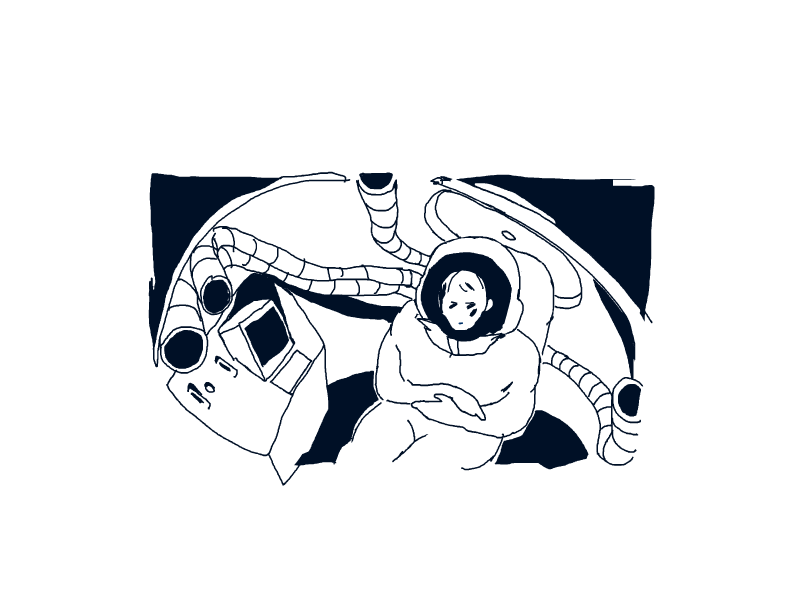 Hand-drawn gender ambiguous astronaut in space shuttle surrounded by hoses and a computer terminal.