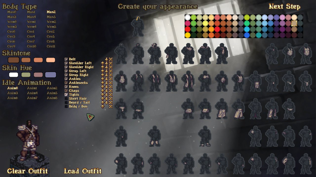 Character creation screen shows a selection of body types, skin tones, skin hues, and idle animations, as well as outfit and colour options. Next to the clothing is a list of options: belt, shoulder left, shoulder right, strap left, strap right, ankles, anklesocks, knees, chaps, tights, short hair, beard/tail, and body/bun.