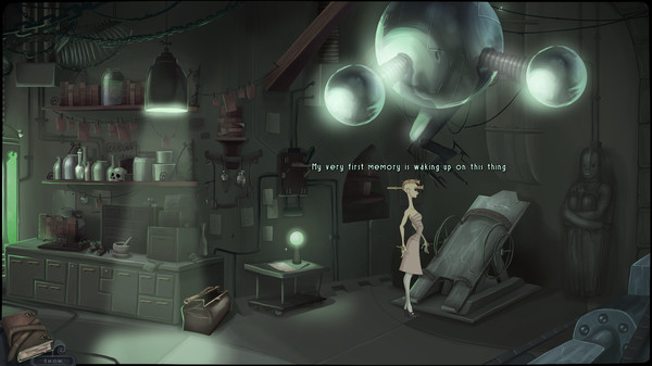 A feminine figure stands in a dark, dirty laboratory beneath a glowing contraption. A skull and several jars sit on the shelves. Text reads, 'My very first memory is waking up on this thing'.