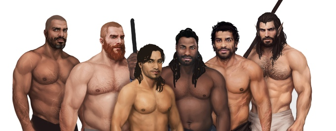 Six shirtless, muscular masculine figures face the camera.