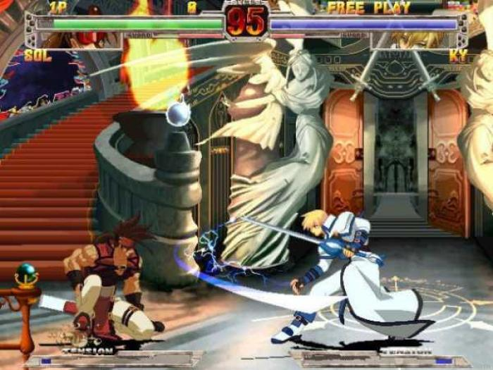 Two figures fight at the bottom of a grand staircase, with their health bars displayed in a game overlay.