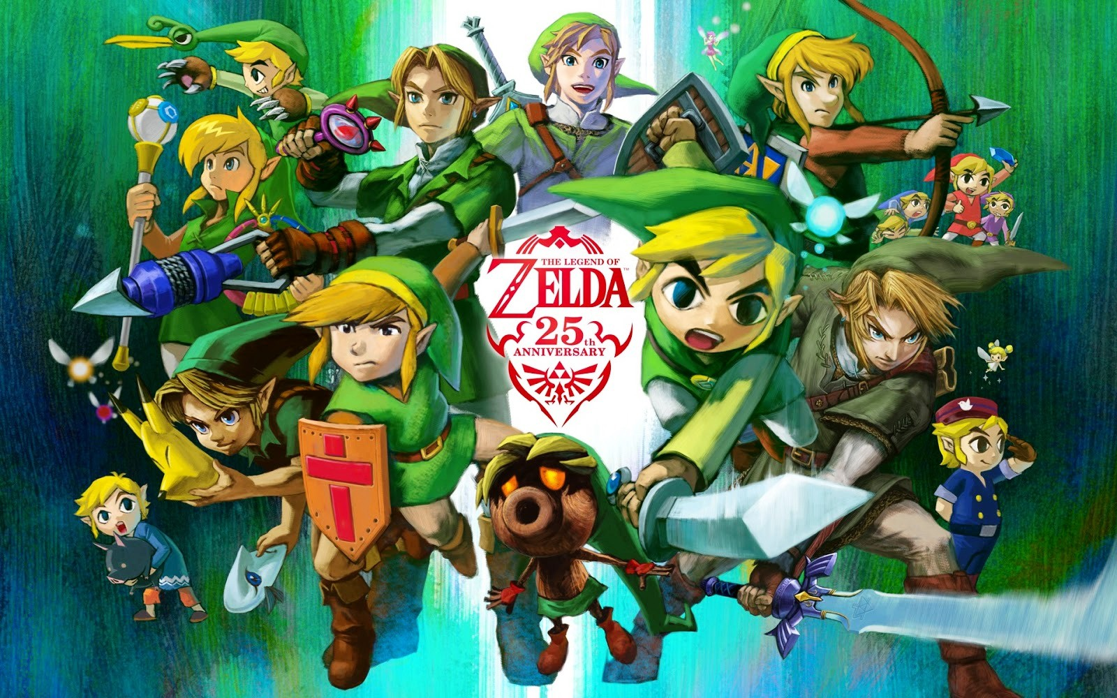 A collection of similarly dressed masc looking people holding swords and arrows. Text reads 'The Legend of Zelda 25th anniversary'.