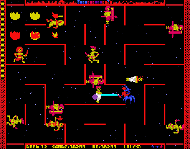 Several femme looking characters carrying swords within a maze. There is fire and a centaur.