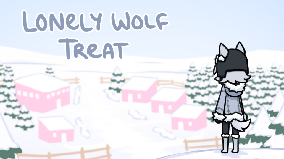 A humanoid wolf character wearing warm jackets stands facing a snowy village. Text reads 'Lonely Wolf Treat'.