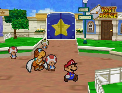 Mario, the plumber, and three Toads the toadstools, and a winged turtle in a village with a post office.