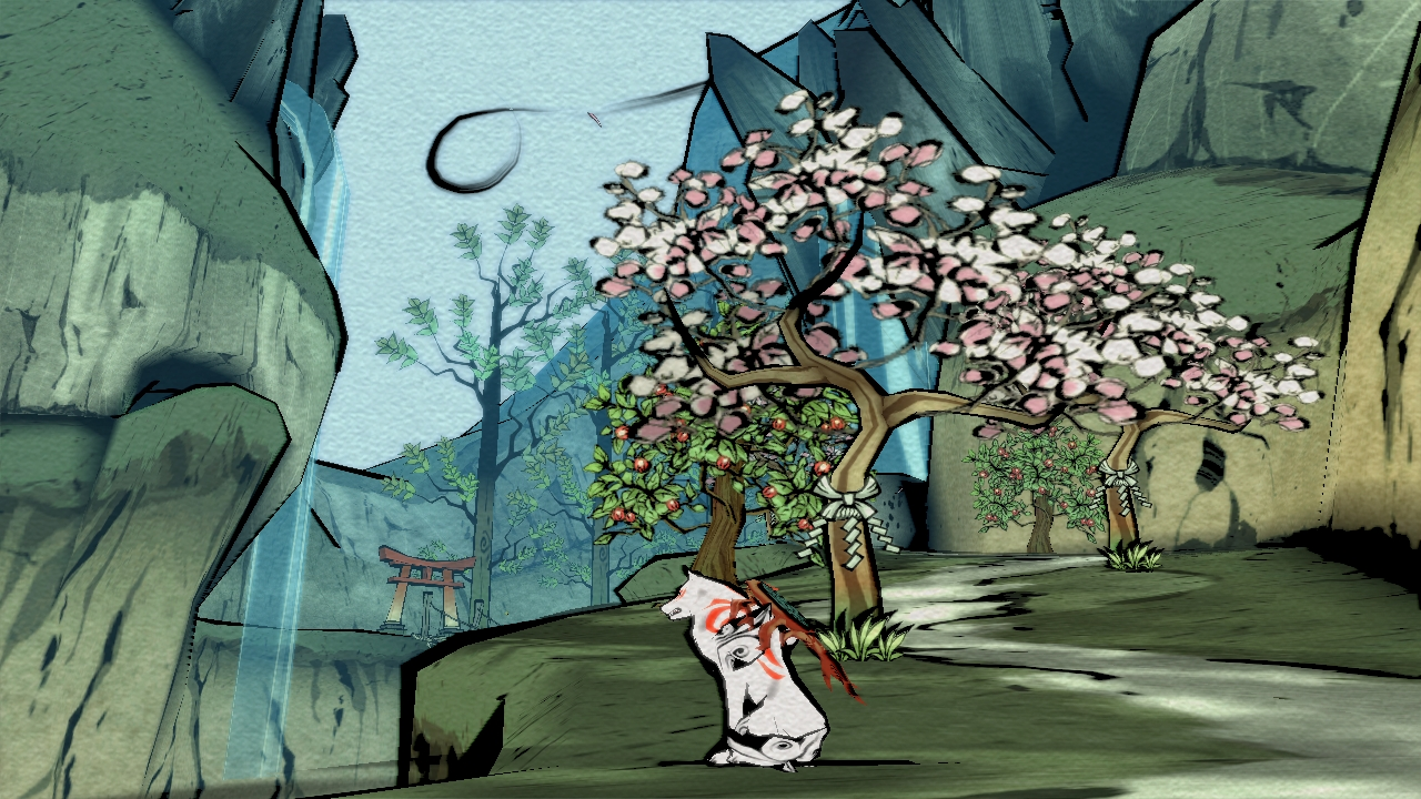 A fox-like creature sits beneath a cherry blossom tree looking at a waterfall.