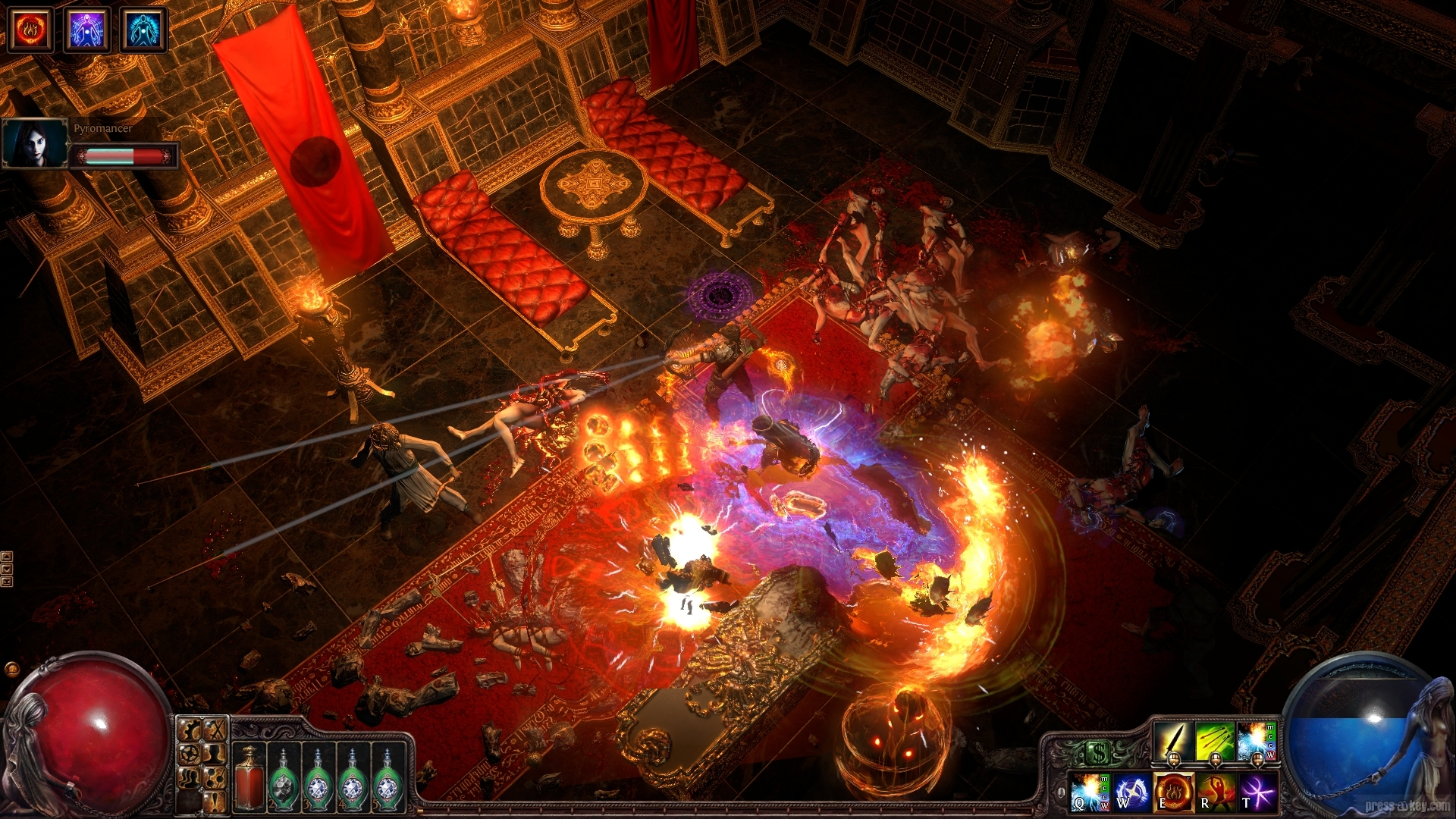 Several figures fire bows and spells at each other in a throne room, surrounded by firey explosions.