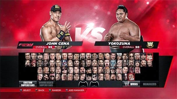 The character selection screen showing pictures of playable wrestlers.